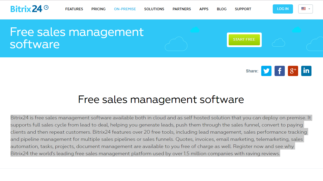 Bitrix24 sales management software